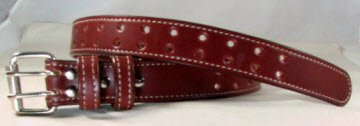 Double Prong British Brown Bridle Leather Belt