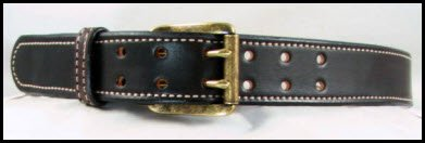 Double Prong Dark Brown Bridle Leather Belt with Tan Stitching