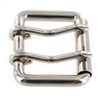 Nickel over Solid Brass Double Prong Buckle