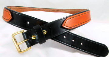 Tan and Black Leather Gun Belt