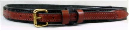 Medium Brown and Black Bridle Leather Ranger Belt.