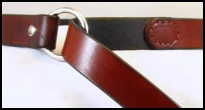 Medium Brown Harness Leather Ring Belt: Dyed Back